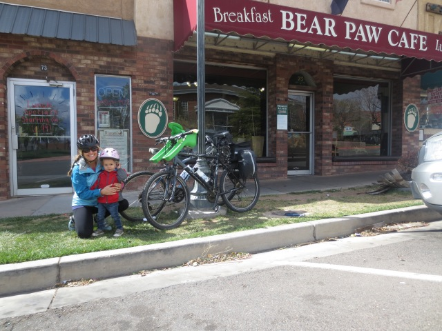 Bear Paw Cafe and our bike set up.